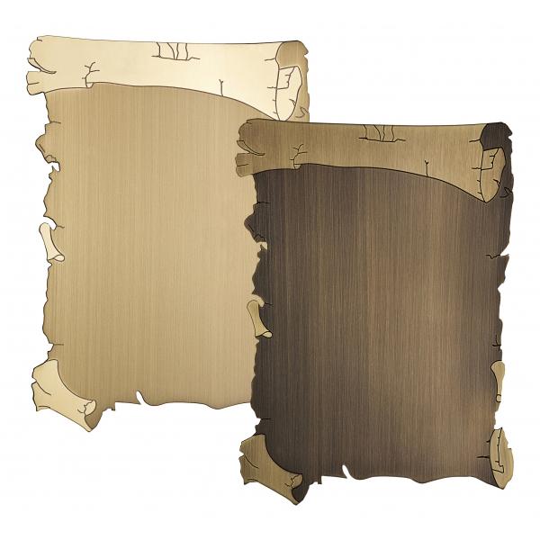 Targa di serie mod. pergamena da esterno in ottone - Settore incisoria - Ciak Targhe