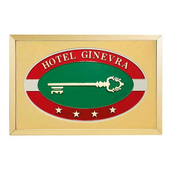 Targa albergo scatolata ottone - Settore alberghiera - Ciak Targhe